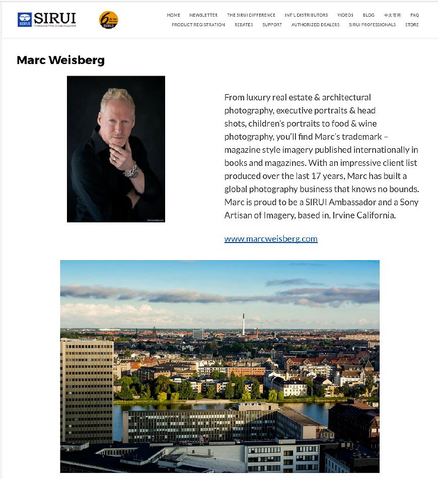 Marc Weisberg Joins The Sirui Family as a Sirui Ambassador
